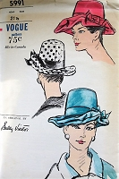 1960s FLIRTY  Hat Pattern VOGUE 5991 Sally Victor Designer Lovely High Crown Hat with Wide Fluted Brim Vintage Sewing Pattern