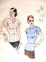 1940s LOVELY Blouse Pattern VOGUE 6000 Easy To Make Fitted Overblouse Slit Neckline Bust 36 Vintage Sewing Pattern