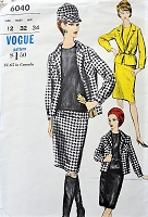 1960s MOD 3 Pc Suit Pattern VOGUE 6040 Slim Skirt,Straight Jacket and Sleeveless Overblouse Bust 32 Vintage Sewing Pattern