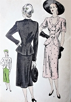 1940s BEAUTIFUL Peplum Suit Dress Pattern VOGUE 6067 Lovely Design Day or After 5 Dinner Party Bust 32 Vintage Sewing Pattern