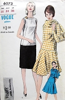 1960s FAB Drop Waist Dress and Scarf Pattern VOGUE Young Fashionables 6073 Two Versions Straight Slim or Circular Skirt Bust 34 Vintage Sewing Pattern FACTORY FOLDED