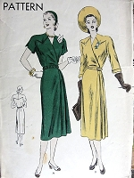 1940s STUNNING Dress Pattern VOGUE 6087 Wrapped Front Skirt With Sectional Godets on Left Side Elegant Design Day or Dinner Dress Bust 32 Vintage Sewing Pattern