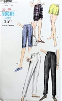 1960s CLASSIC Pants and Shorts Several Styles Vogue 6090 Vintage Sewing Pattern
