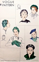 1950s FILM NOIR Hats Pattern VOGUE 6124 Draped Turban  Basque Beret Three Elegant Styles Vintage Sewing Pattern