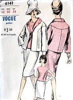 1960s CHIC  Suit or Two Piece Slim Dress and Jacket Pattern VOGUE 6141 Cocktail Party or Daytime Bust 32 Vintage Sewing Pattern