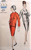 1960s ELEGANT Two Piece Dress Vogue 6155 Bust 36 Vintage Sewing Pattern