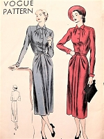 1940s STUNNING Dress Pattern VOGUE 6186 Day or Dinner Dress Interesting Pleat Details Bust 32 Vintage Sewing Pattern