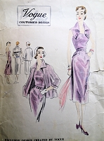 1950s CLASSY Slim Dress and Jacket Evening or Daytime Pattern VOGUE Couturier Design 618 Strapless Dress With Button On Revers Perfect Cocktail Party Dress,Bust32 Vintage Sewing Pattern