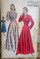 1940s GLAM Housecoat Robe Hostess Gown Pattern VOGUE 6241 Beautiful Full Length or Short Circular Flared Skirt Bust 34 Vintage Sewing Pattern