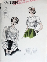 Vintage 1940s ELEGANT Blouse In Two Styles Vogue 6286 Bust 34 Sewing Pattern