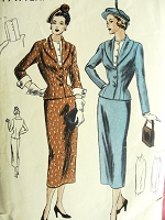 1940s CHIC Suit and Dickey Pattern VOGUE 6298 Figure Hugging Jacket Pencil Slim Skirt, Jewel Neckline Dickey Bust 36 Vintage Sewing Pattern