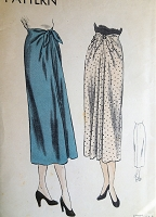 1940s FABULOUS Skirt Pattern VOGUE 6338 Beautiful Front Tie Front Flare Slim Skirt Day or Evening Waist 28 Vintage Sewing Pattern