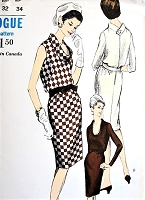1960s CHIC Slim Dress Pattern VOGUE 6340 Lovely Bias Cut Slightly Bloused Bodice, Bias Cowl Collar, Day or Dinner Dress Bust 32 Vintage Sewing Pattern FACTORY FOLDED