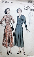 1940s CHIC Dress with Eight Gored Skirt Vintage Vogue 6352 Bust 38 Sewing Pattern