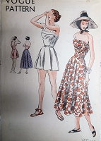 1940s GLAMOROUS Beach Wear Pattern VOGUE 6358 One Piece Playsuit and Bias Circular Skirt Bust 32 Vintage Sewing pattern FACTORY FOLDED