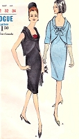 1960s CLASSY Slim Cocktail Party Sheath Dress and Cutaway Over Blouse Pattern VOGUE 6383 Flattering Design Perfect Little Black Dress Bust 32 Vintage Sewing Pattern
