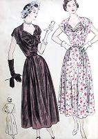 1940s BEAUTIFUL Party Evening Dress Pattern VOGUE 6416 Sweetheart Neckline Two Bodice Versions Bust 36 Vintage Sewing Pattern
