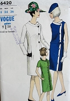 1960s Vintage MOD Coat Dress Vogue 6420 Bust 34 Sewing Pattern