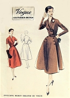 1950s BEAUTIFUL Coat Dress Pattern VOGUE Couturier Design 643 Surplice Neckline Flared Dress Day or Cocktails After 5 Bust 36 Vintage Sewing Pattern