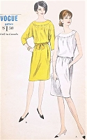 1960s MOD Blouson Dress Pattern VOGUE 6454 Day or Evening Cocktail Party Slim Skirted Dress Bust 36 Vintage Sewing Pattern FACTORY FOLDED