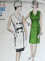 1960s Vintage POSH  Double Breasted Dress or Tunic Vogue 6485 Bust 34 Sewing Pattern
