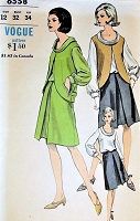 1960s STYLISH Cutaway Jacket,Blouse and Skirt Pattern VOGUE 6558 Lovely Bias Roll Collar Blouse, Front Inverted Skirt and Eye Catching Jacket Bust 32 Vintage Sewing Pattern FACTORY FOLDED