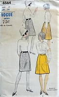 1960s CLASSIC A-line or Straight Skirt and Belt Vogue 6564 Waist 26 Vintage Sewing Pattern