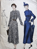 1940s ELEGANT Coat Dress Pattern VOGUE 6584 Double Breasted Dress Patch Pockets and Shaped Cuffs Bust 30 Vintage Sewing Pattern