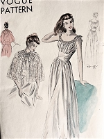 1940s Vintage ENCHANTING Nightgown with Round Neckline and Cape Vogue 6597 Sewing Pattern Bust 34