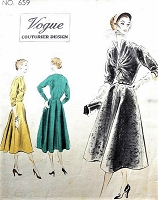 1950s DRAMATIC Day or Party Evening Dress Pattern VOGUE Couturier 659 Eye Catching Twisted Bodiced, Unique Design Bust 30 Vintage Sewing Pattern FACTORY FOLDED