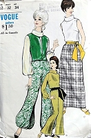 1960s HOSTESS Lounging  Jacket, Blouse, Skirt, Pants Pattern VOGUE 6621Fab Roll Collar Blouse, Maxi Slim Skirt, Bell or Harem Bottom Pants Bust 32 Vintage Sewing Pattern