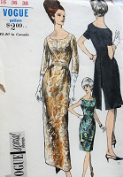 1960s Vintage ELEGANT Fitted Dress in Three Styles Vogue 6711 Sewing Pattern Bust 36