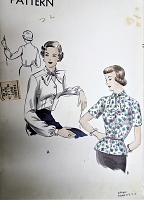 1940s FABULOUS Blouse Pattern VOGUE 6742 Tuck In or Overblouse, Key Hole Bow Neckline Lovely Details, Bust 30 Vintage Sewing Pattern FACTORY FOLDED