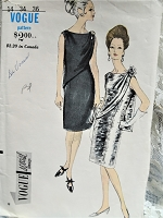 1960s ELEGANT Slim Evening Cocktail Dress Pattern VOGUE Special Design 6744 Lovely Draped Panel Perfect For Shoulder Brooch Bust 34 Vintage Sewing Pattern