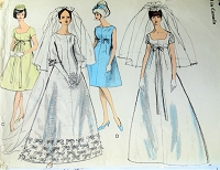 1960s Vintage BEAUTIFUL Wedding Dress and Veils and Bridesmaid Vogue 6768 Sewing Pattern Bust 32