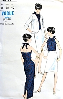 1960s MOD Evening Party Coordinates Pattern VOGUE 6769 Halter Top Blouse, Slim Skirt Short or Maxi Back slit, Flared Back Jacket Bust 38 Vintage Sewing Pattern UNCUT
