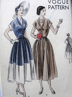 1940s LOVELY Party Evening Dress Pattern VOGUE 6791 Figure Flattering Shawl Collar V Neckline Full Skirt Dress, Perfect For Sheer Fabrics Bust 36 Vintage Sewing Pattern
