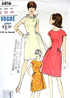 1960s CUTE Mod Dress pattern VOGUE Young Fashionables 6816 BELL Shaped Skirt High Scoop Neck or Standing Bias Collar Bust 32 Vintage Sewing Pattern