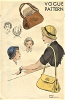 1940s FAB Cloche Hat and Shoulder Bag Purse Pattern VOGUE 6831 Lovely Brimmed Cloche Hat, Large Flap Bag Vintage Sewing Pattern