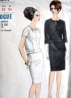 1960s MOD Classy Two Pc Dress Pattern VOGUE 6844 Very Pretty Gathered  Neckline with KEYHOLE Button Back Top Slim Skirt Bust 32 Vintage Sewing Pattern