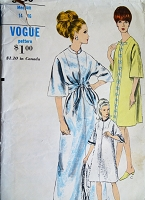 1960s CLASSY Robe Hostess Gown Pattern VOGUE 6868 Three Style Versions Bath Robe House Coat Lounging Robe Size Medium Vintage Sewing Pattern