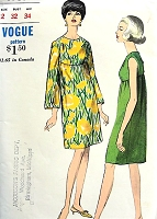 1960s MOD High Waisted Dress Pattern VOGUE 6959 Easy Elegance Bust 32 Vintage Sewing Pattern FACTORY FOLDED