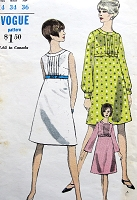 1960s MOD Empire Dress Pattern VOGUE 6964 A Line Dress Sleeveless or 2 Sleeve versions Bust 34 Vintage Sewing Pattern