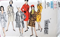 1960s STYLISH Double Breasted Trench Coat Vogue 6970 Bust 32 Vintage Sewing Pattern