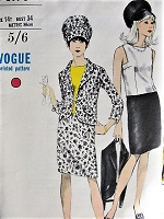 1960s Vintage STYLISH Sleeveless Blouse, Suit, Hat Vogue 6976 Sewing Pattern Bust 34