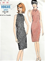 1960s MOD Slim Day or Cocktail Party Bias Cut Dress Pattern VOGUE 6986 Cut Away Armholes, Shirred Front Neckline, Bias Roll Collar Bust 34 Vintage Sewing Pattern