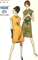 MOD 1960s Dress or Tunic and Skirt Pattern VOGUE 7040 Standing Neckline,Day or After 5 Dress Bust 32 Vintage Sewing Pattern