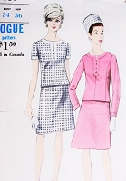 1960s MOD Suit Pattern VOGUE 7050 Elegant Design, A Line Skirt Bust 34 Vintage Sewing Pattern UNCUT