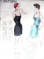 1950s GLAMOROUS Bathing Suit and Tie on Skirt Pattern VOGUE 7095 Sweetheart Halter Neckline Swimsuit Bust 34 Vintage Sewing Pattern