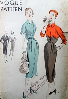 1950s Vintage HAUTE Slim Dress with Pleats and Interesting Sectional or Contrasting Blouse Vogue 7111 Sewing Pattern Bust 32